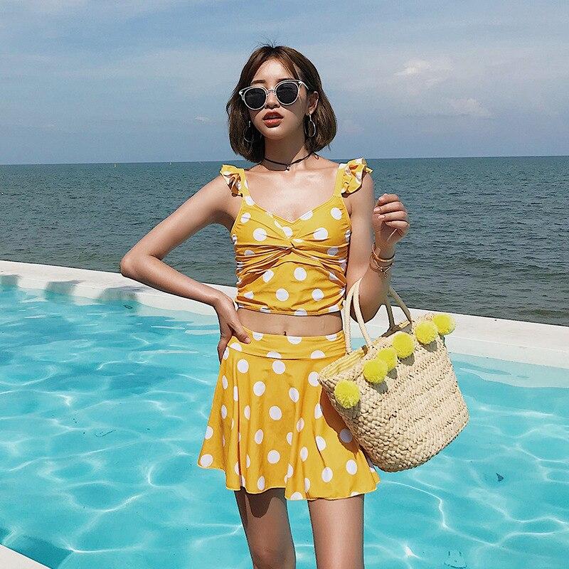 Separate Swimsuits Swim Suits Bikini For Women 2019 Whole Swimsuit Fused Push Up Bikiny Set Bird Yellow Spot Split Skirt Lovely