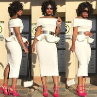 Sommer Elegante Afrikanische Kleider für Frauen Slash Neck Rüschen Verbandkleid Robe Femme Casual Indische Kleidung Großhandel Kleidung