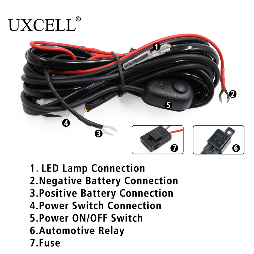UXCLL 10Feet 12V 40A 180W LED Work Light Bar Wiring Harness Relay Kit Offroad ON/OFF Switch