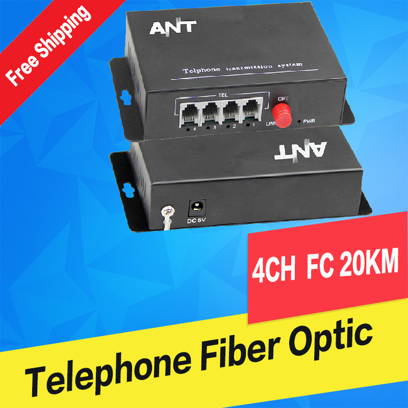 4Ch PCM Voice Telephone Fiber Optical Media Converter With Ethernet FC Single mode 20Km High Quality