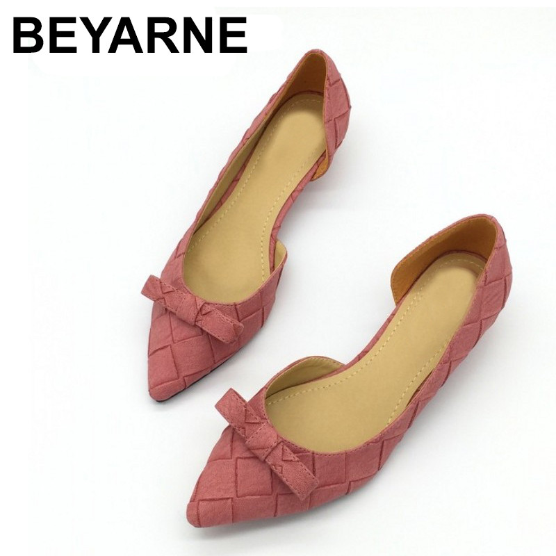 BEYARNE Toe Women Bowtie Pumps Spring Autumn Slip-On Woman D'Orsay Low Heel Pumps Shoes Ladies Spike Heels Single Shoes mrs win spring autumn sexy low heel shoes pointed toe patent leather shallow slip on women s pumps shoes ladies single shoes