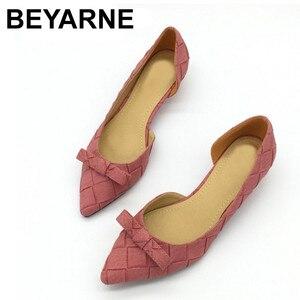 Image 1 - BEYARNE Toe Women Bowtie Pumps Spring Autumn Slip On Woman DOrsay Low Heel Pumps Shoes Ladies Spike Heels Single Shoes