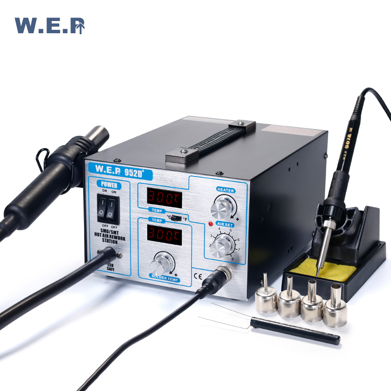 SMD ESD SAFE 2 IN 1 HOT AIR REWORK SOLDERING IRON STATION NEW UK WEP-952D