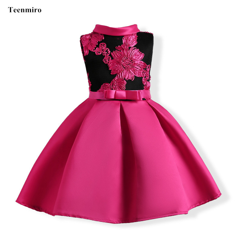 Baby Girls Embroidery Silk Flower Princess Dresses Kids Formal Wedding Party Girl Birthday Dress Toddler Children Gown Costomes new summer pink children dresses for girls kids formal wear princess dress for baby girl 3 8 year birthday party dress