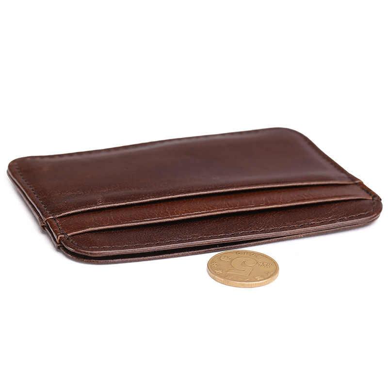 Baoersen Sıcak satış Hakiki Deri Ince Kart Durumda Erkek Ön Cep kart tutucu Çanta Ince Cüzdan Erkekler Mini Para cebi siyah