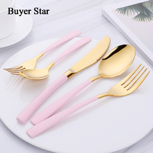 Buyer Star 20-Piece Silverware Cutlery Set Stainless Steel Flatware Dinner Service For 4 Gold with Pink Handle Knife Fork Spoon