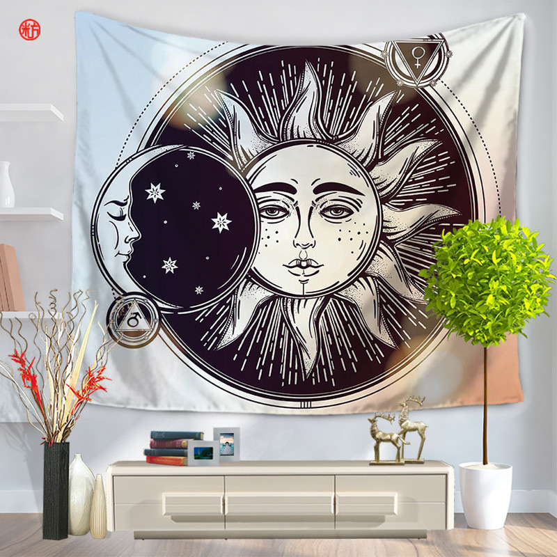 home decor indian sun tapestry colorful psychedelic wall hanging carpet bedspread bohemia dust cover door curtain - Domestications Home Decor
