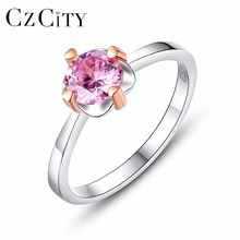 CZCITY Pink Cubic Zirconia Paved Luxury Two-Color Gold Designer 925 Sterling Silver Engagement Ring for Women Silver Finger Ring