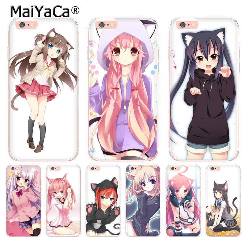 MaiYaCa Sexy cartoon the anime kawaii Girl Cat landscape soft tpu Phone Case for iPhone X XS MAX XR 6 6s 7plus 8Plus 5S 5C case