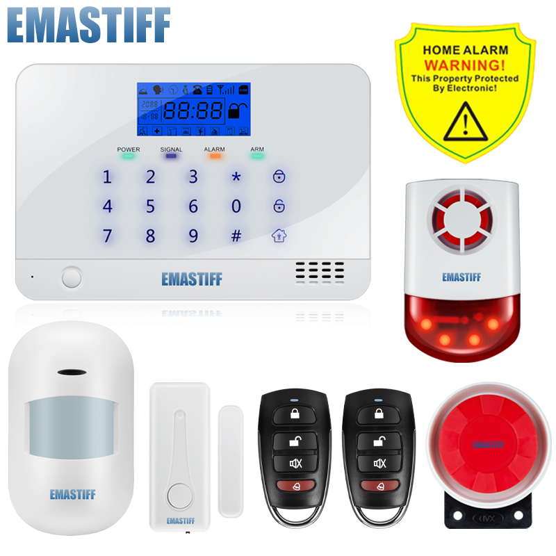 Wireless Touch Keypad APP GSM Intruder Burglar Alarm System Security Home Wired Wireless Signal PIR/Door Sensor Russian Voice