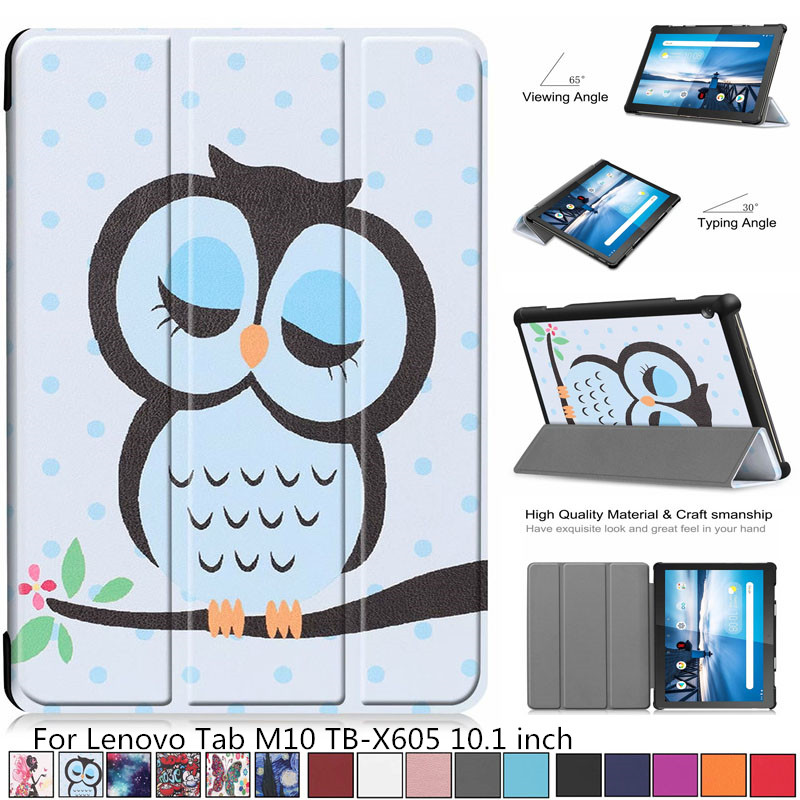 For Lenovo Tab M10 TB-X605F Case New Print Tri-Fold Magnetic Cover Tab M10 X605 X605f Tablet Protective Shell Skin Fundas + Pen