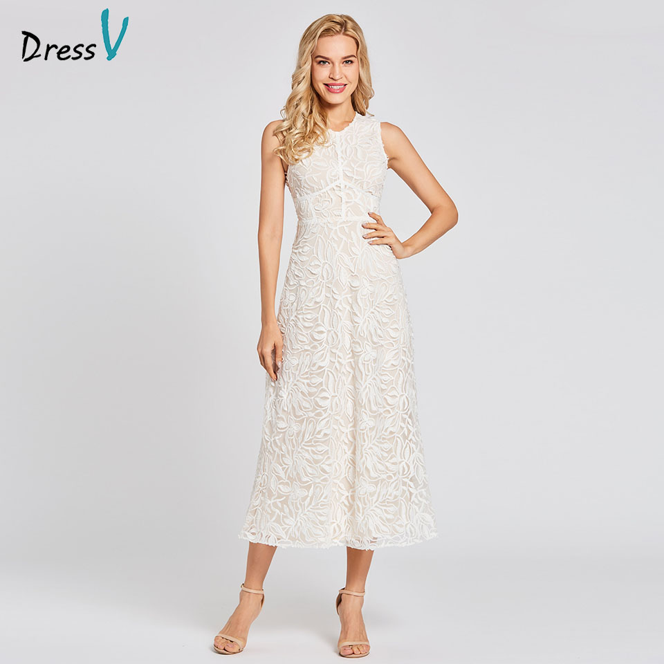 Dressv white long a line   evening     dress   zipper up cheap scoop neck lace ankle length wedding party formal   dress     evening     dresses