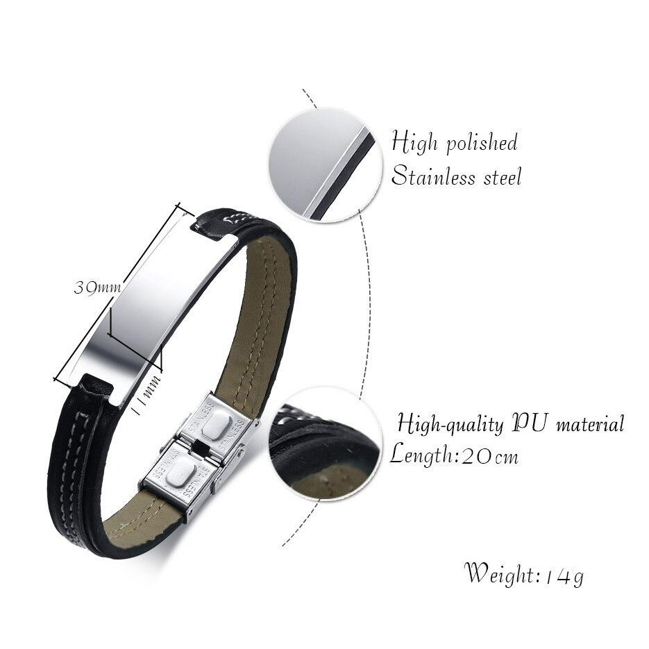 Vnox Free Engraving Black Mens Leather Bracelet 7.87 Stylish Customize ID Tag Stainless Steel Bracelet Male Jewelry