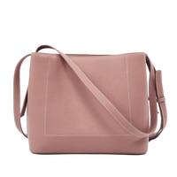 Women's new wave leather solid color bucket shoulder bag Korean version of the leather wave bulk diagonal bag