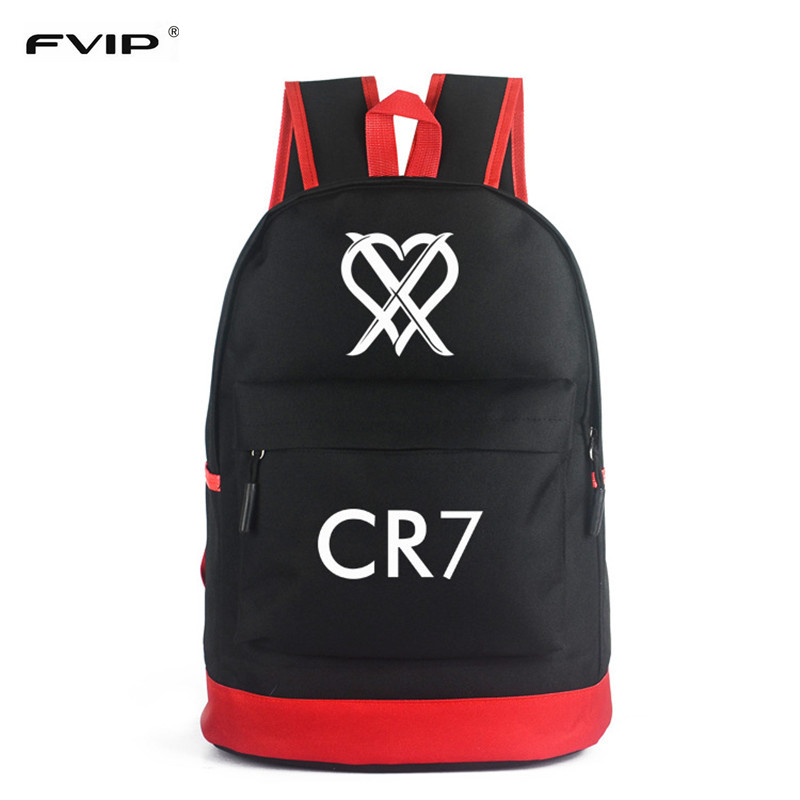 FVIP CR7 Backpack School Bags for Teenagers Boys  Bagpack Men Ronaldo Fashion Bookbags for Children Cool Traveling Schoolbags