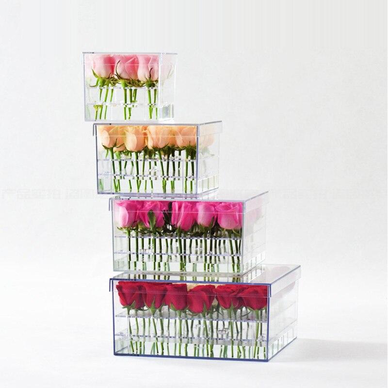 Mordoa 2018 Acrylic Flowers Box Rose Keep Fresh Box Water Flowers Rose Gift Jewelry Display Jewelry Rose Storage Box Flowers