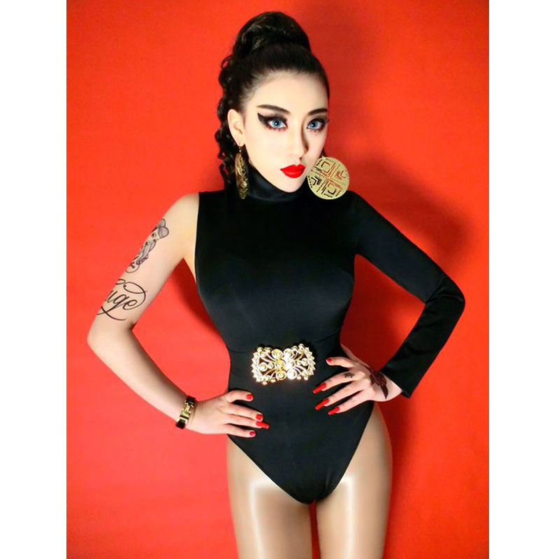 Unilateral sleeve high collar Bodysuit High fork Women's Party Prom Bar Outfit Stage Female Singer Show Romper Belt
