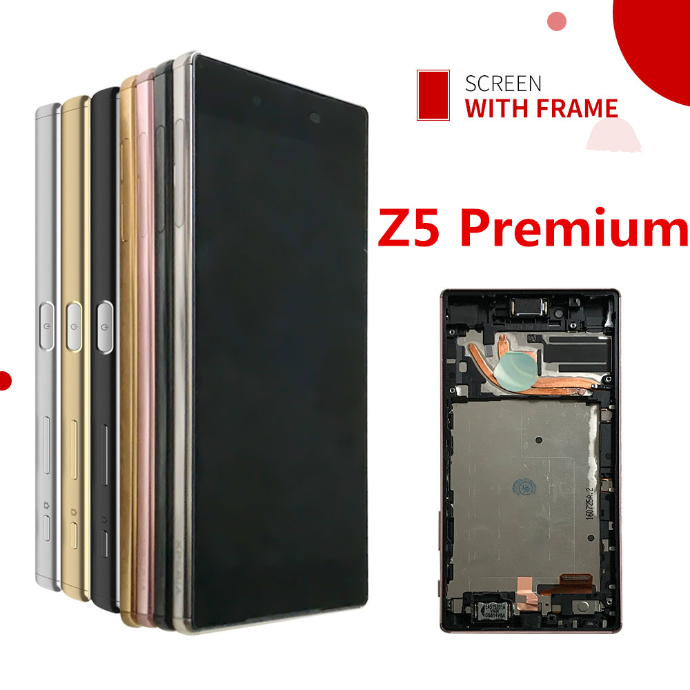 For Sony Xperia Z5 Premium E6853 E6883 E6833 LCD Display Touch Screen Digitizer Button Frame Assembly