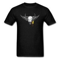 2018 Tribal Bull Skull Print Men S Black T Shirt Short Sleeve Cotton Fabric Tee Shirts