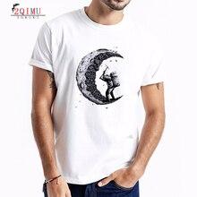 2QIMU Summer Short-Sleeved Cotton Mens T-Shirt 2019 Fashion Patchwork Printing Top Tees Casual Style O-Neck Tshirt