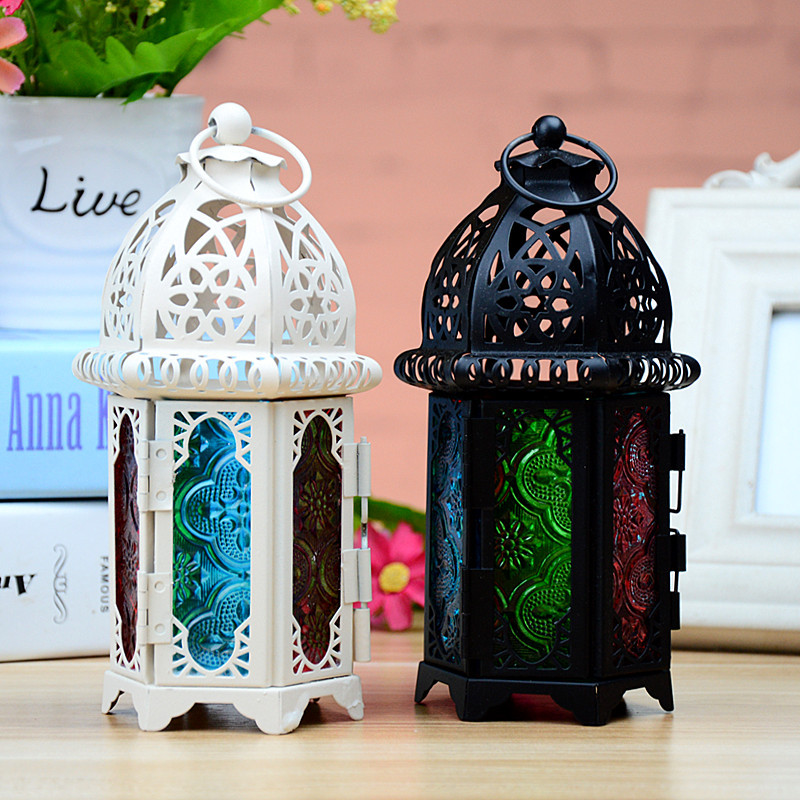 Moroccan Style Lantern Sconce Candlestick <font><b>Candle</b></font> Holder <font><b>Candle</b></font> Stand Light Holder Lantern Iron Crafts for Wedding Decoration