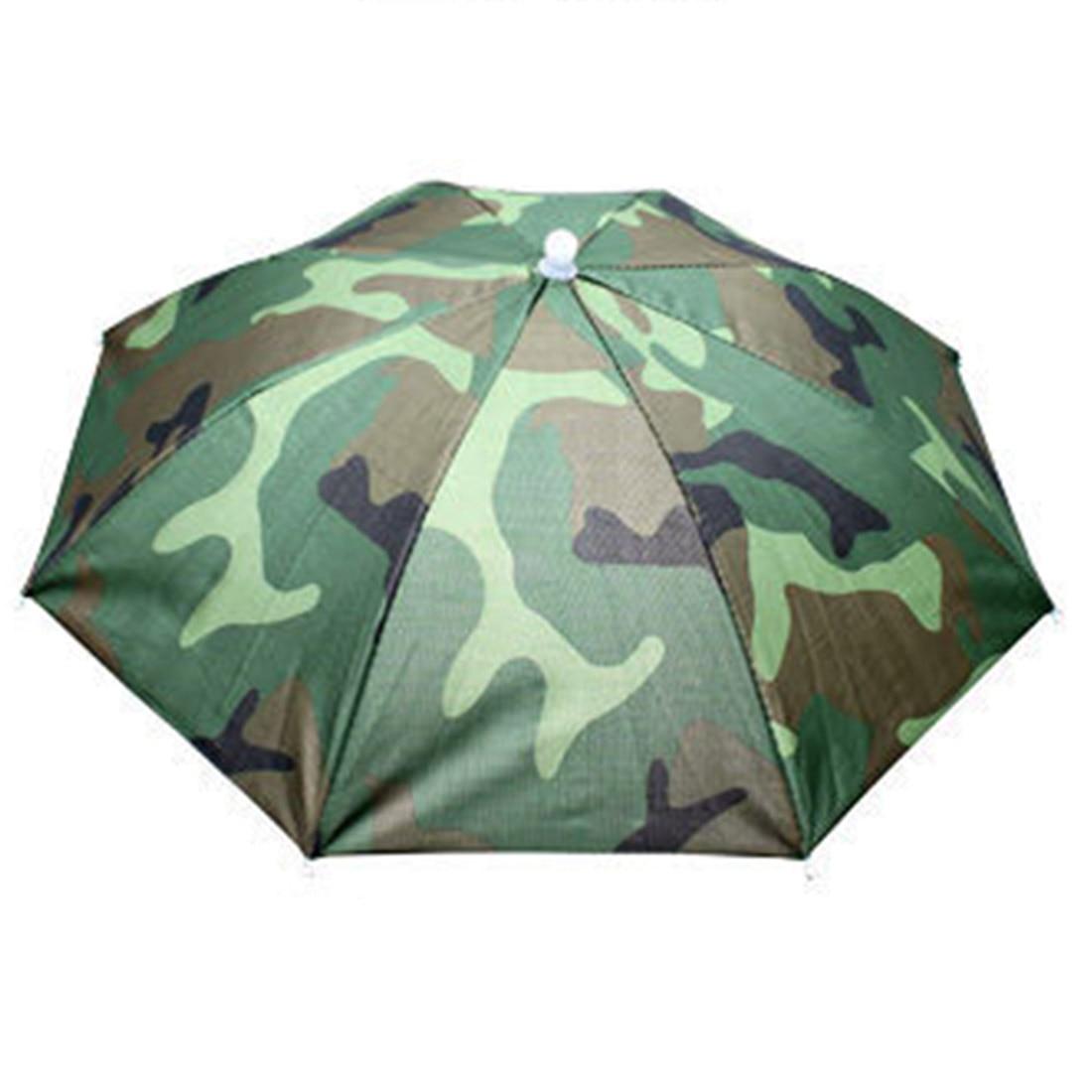 Draagbare Opvouwbare Regenkleding Vissen Hoed Hoofddeksels Paraplu voor Vissen Wandelen Strand Cap Hoofd Hoeden Outdoor Camping Apparatuur