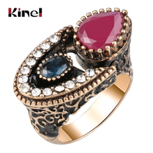 Kinel 2019 New Unique Antique Gold Ring For Women Red Crystal Vintage Wedding Rings Ethnic Bridal Fine Jewelry Wholesale
