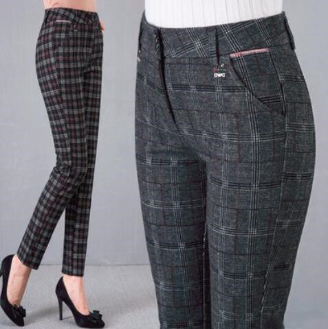 db683fc694e 2018 Women Plaid Pants Full Length High Waist Spring Autumn Fitness Trousers  with Pocket Plus Size 3XL 4XL 5XL 6XL