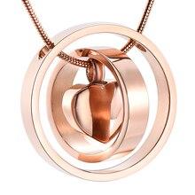IJD9954 нержавеющая сталь два круга вокруг пустой Сердце ожерелье для кремации мемориальное ожерелье пепел держатель урна сувенир ювелирные изделия