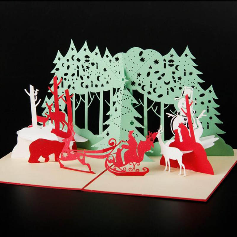 3D Sculpture Paper Greeting Card Folding Invitation Card Christmas ...