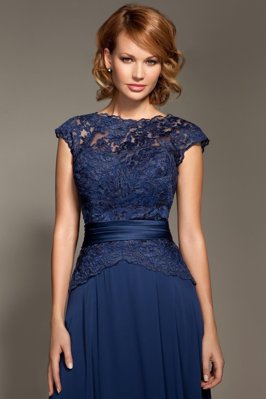 Cheap Dark Navy Blue Lace Cap Sleeve Chiffon Floor-Length Mother Of The Bride Dresses Party Dresses Prom Dresses (3)