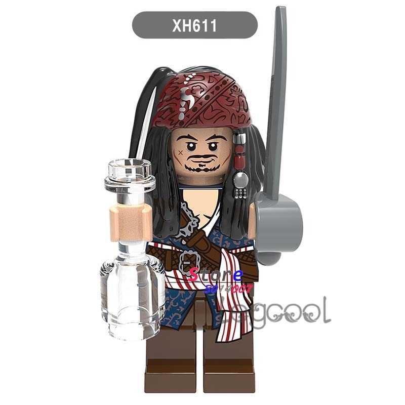 1PCS modelo blocos de construção super-heróis de ação Piratas do Caribe Jack Sparrow diy brinquedos para as crianças presentes
