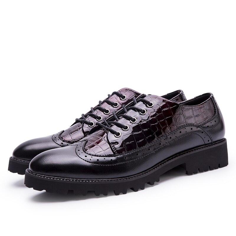 Chaussures red Mocassins Appartements En Bureau Cuir Black Richelieu Oxford Pointu Classique Hommes Pour Formelle Yeinshaars Robe Bout dwFHqad