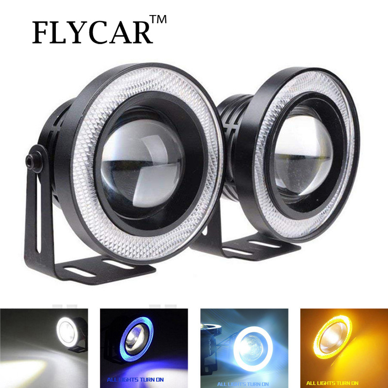 FLYCAR 2PCS Waterproof Projector LED Fog Light Halo Angel Eyes 64mm 76mm 89mm Daytime Running Light