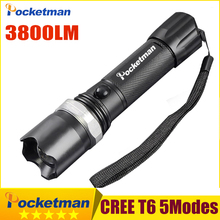 CREE XM-L T6 Led Flashlight 3800Lumens Led Torch Zoomable Waterproof Tactical Flashlight lanterna for 1×18650 Camping Hiking
