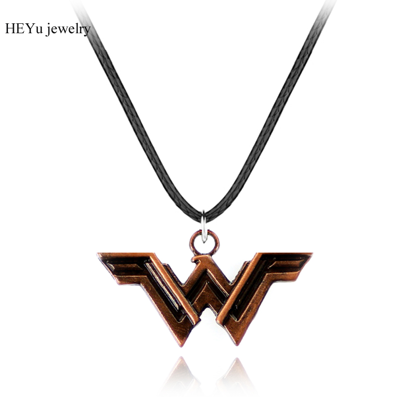2017 Superhero Wonder Woman ожерелья и подвески Кожа Веревка Сеть Wonder Woman W логотип украшения Для женщин праздничные подарки