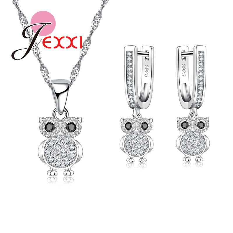 Trendy 925 Silver Jewelry Set For Women Wedding Accessories Owl Earrings/Pendant/Necklace Set Hot Sales
