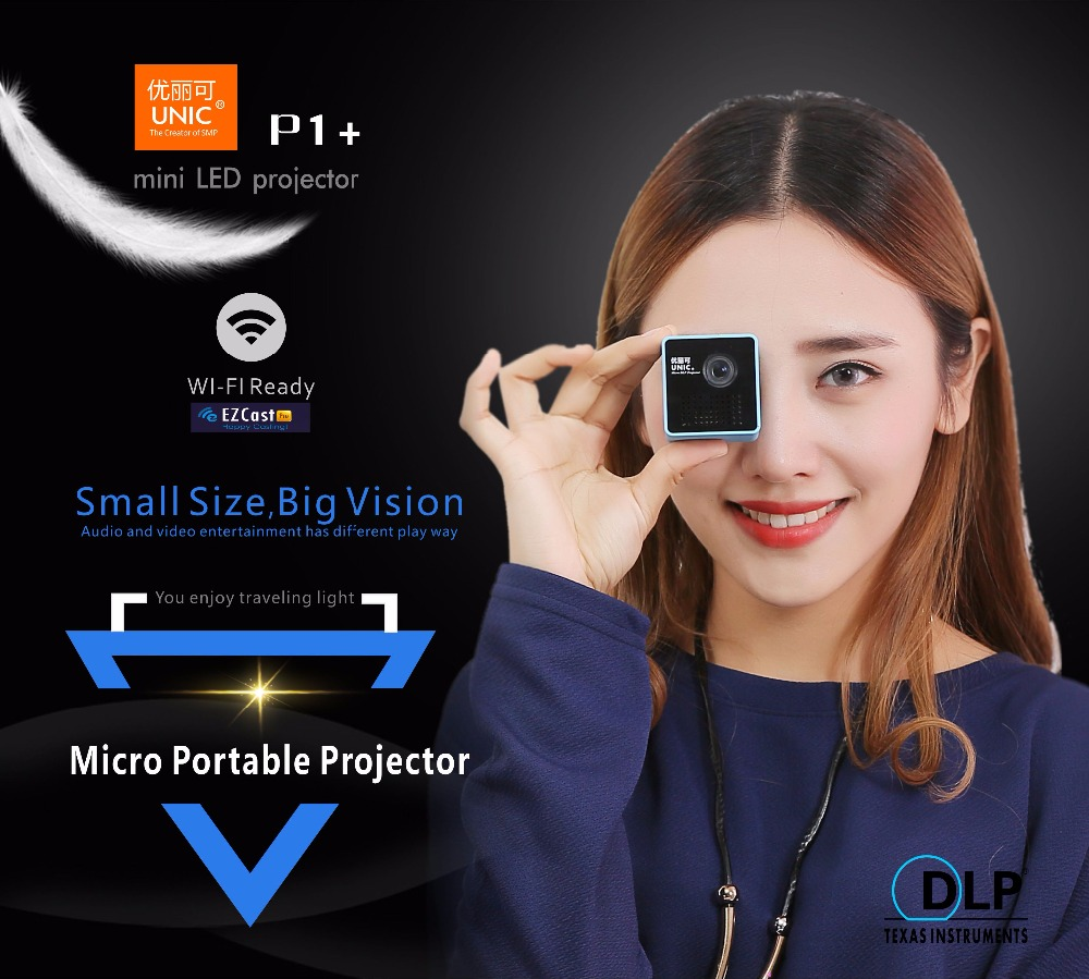P1 DLP Smart Projector Pocket LED Pico DLP Mini Project Quad Core Contrast Ratio 800:1 Pico Projector Home Theater 38-120 inches