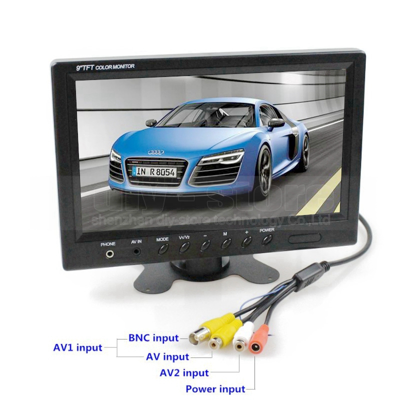 DIYKIT 9 inch TFT LCD Car Monitor Display Car Reverse Rear View Monitor Screen with BNC / AV Input Remote Control DVD VCR 4 way input 7 inch tft lcd screen car monitor rear view display for rearview reverse backup camera car tv display for truck