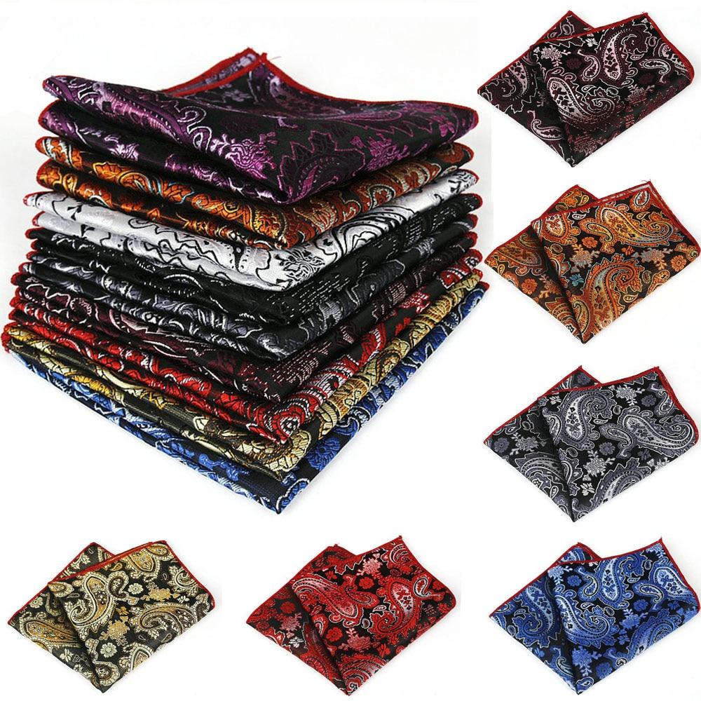 9 Colors Men Paisley Flower Pocket Square Handkerchief Wedding Party Hanky BWTYF0020