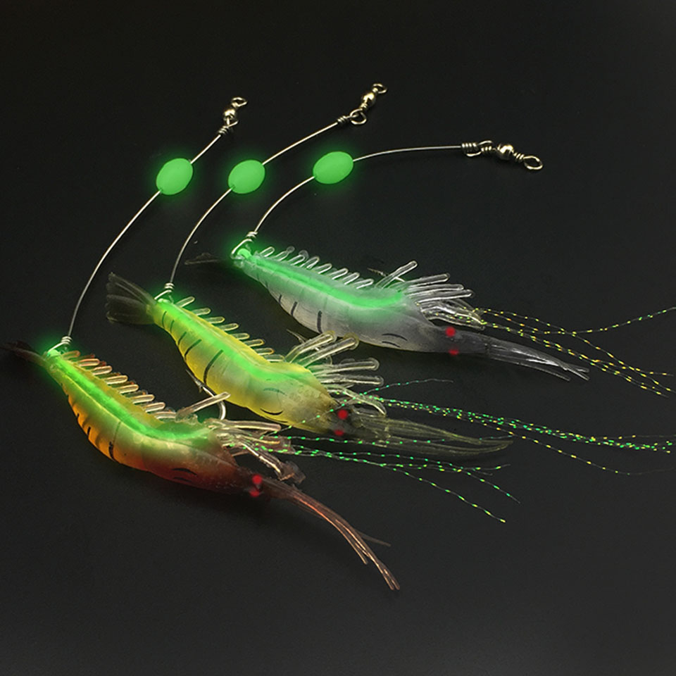 1Pcs Shrimp Soft Lure 9cm/6g Fishing Artificial Bait With Glow Hook Swivels Anzois Pesca Sharp Rigs Fishing Lure 1pcs 8cm 5g luminous simulation prawn soft shrimp floating shaped worn fake lure hook isca fishing lure artificial bait