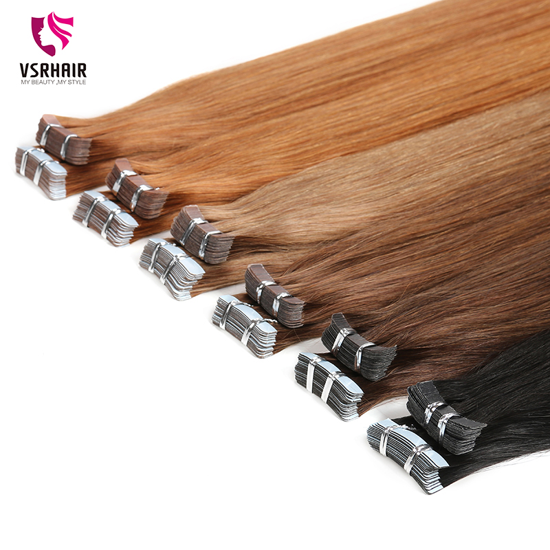 VSR PU Super 20 PCS 40 PCS Non-Remy Tape In 100% Human Hair Extensions Double Sided Adhesive Tape Extensions  For Women