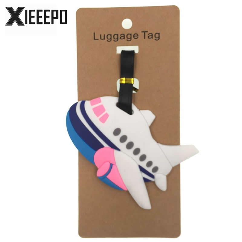 Cartoon Airplane LuggageTag Travel Accessories Silica Gel Suitcase ID Address Holder Women Men Baggage Boarding Portable Tag padovan корм padovan scagliola корм для птиц зёрна канаречнных семян 25 кг