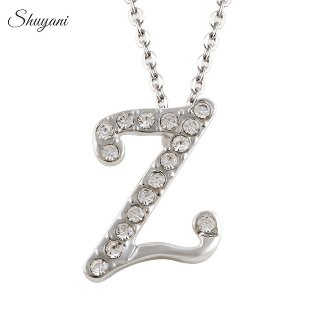 Letter Z Necklace ALP Shuyani Customized Initial Letter Z Necklace Pendant with Collar Chain  Silver Crystal 26 Alphabet Jewelry Necklace