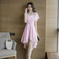 Solid Asymmetrical Chiffon Dress 2019 Plus Size Summer Women Pink Short Butterfly Sleeve Square Collar Knee length party Dress