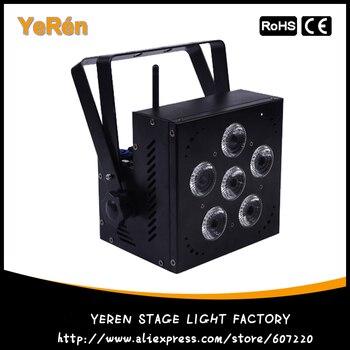 แบตเตอรี่ไร้สาย LED Par Light RGBWA + UV 6in1 สี DJ Wash DJ ไฟ