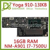 KEFU CYG50 NM-A901 carte mère pour Lenovo YOGA 910-13IKB YOGA 910 ordinateur portable carte mère I7-7500U CPU 16 GB RAM original testé