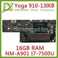 KEFU CYG50 NM A901 płyta główna dla lenovo joga 910 13IKB jogi 910 laptopa płyty głównej płyta główna w I7 7500U procesor 16 GB pamięci RAM oryginalne testowany w Płyty główne do laptopów od Komputer i biuro na