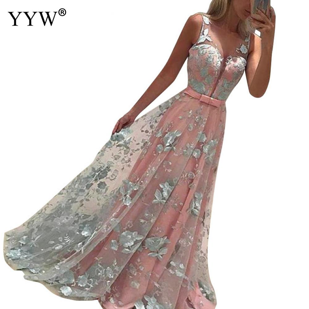 Women Bridesmaid Formal Long Dress Elegant Prom Ball Gowns Party Wedding Dress Sleeveless Embroidery Floor Length Sexy Vestidos in Bridesmaid Dresses from Weddings Events