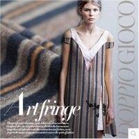 Striped Wool Blended Fabrics Lightweight Warm Coat Fabric 435grams Per Metre